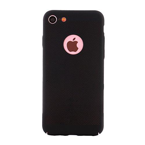 Wkae Leichter, atmungsaktiver voller Abdeckung PC Shockproof schützender rückseitiger Abdeckungs-Fall für iPhone 7 ( Color : Gold ) Black