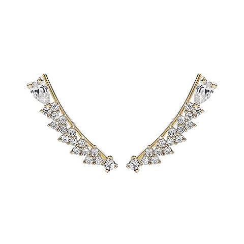 OKAJEWELRY Ear Climber Cubic Zirconia Crystal Sweep Gold Cuff Earrings - Women Ladies Hook Earring 1