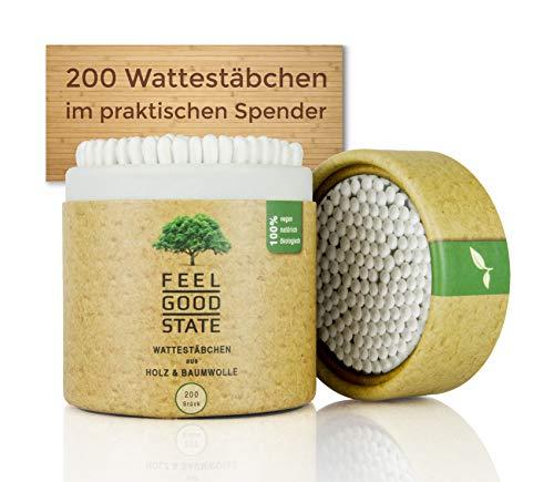 200 Wattestäbchen aus Holz von Feel Good State | im praktischen Spender | 100% biologisch abbaubar, nachhaltig und plastikfrei - 2