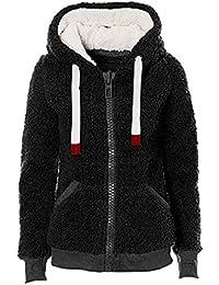 FNKDOR Femme Veste Polaire Zippé Sweat-Shirt à Capuche Manteau Hoodie Chaud Automne  Hiver e30ca7b326f