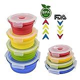 Sycle circle Juego de 4 recipientes de Silicona Plegables para Almacenamiento de Alimentos, sin BPA, Plegables, apilables, apilables, apilables, Aptos para microondas y Horno