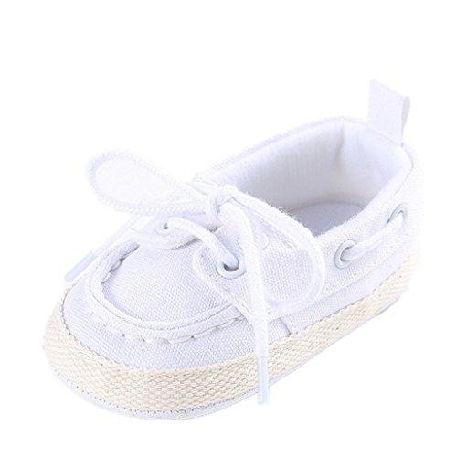 Auxma Baby Schuhe Nettes Baby Säuglings kind Jungen Mädchen weiche alleinige Segeltuch Turnschuhe kleinkind schuhe Für 3-18 Monate (13cm/12-18 M, Weiß)