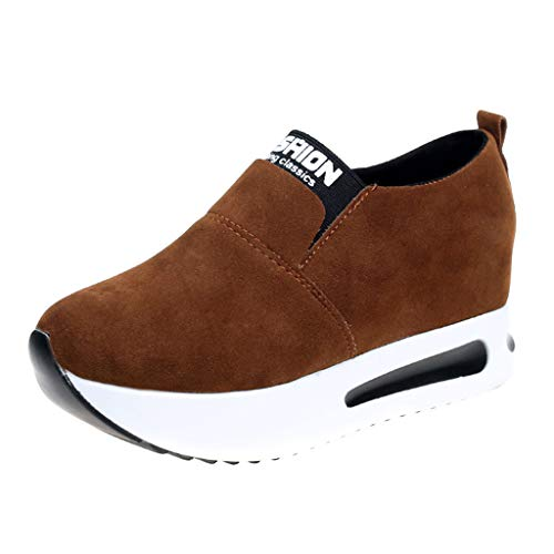 c0db3bdb223d9 Manadlian Chaussure de Running Sport Femmes Coussins en Daim Sneaker  Augmentation de la Hauteur Interne Plate