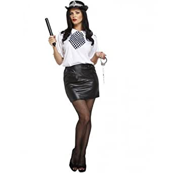 Ladies 6 Piece Sexy WPC Police Woman Cop & Hat Hen Do Emergency Services Fancy Dress Costume Outfit