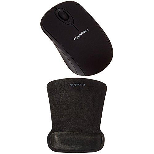 Amazonbasics - mouse wireless con microricevitore e tappetino con poggiapolsi, nero