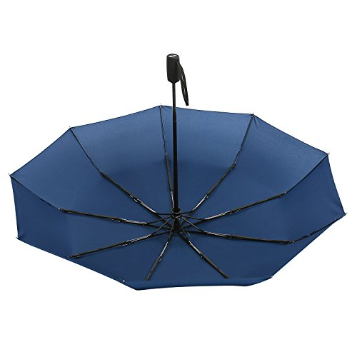 """Lightweight """"Dupont Teflon"""" Travel Umbrella, Virtually Indestructible Windproof Canopy, **Lifetime Replacement Guarantee**, Automatic Open/Close For One Handed Operation, Slip-Proof Handle for Easy Carrying By Repel (Navy Blue)"""