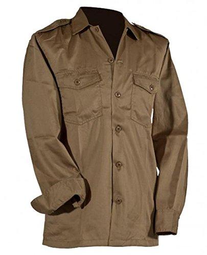 US Army hochwertiges langärmliges oder kurzärmliges Hemd Größe S-XXXXXL Übergröße Farbe Schwarz oder Khaki (XXXL, Langarm Khaki) (Khaki Bdu)