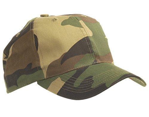 US Army Outdoor Kinder Baseball Cap aus stabilem Rip Stopp in verschiedenen Farben Einheitsgröße (Woodland) (Militär-cape)