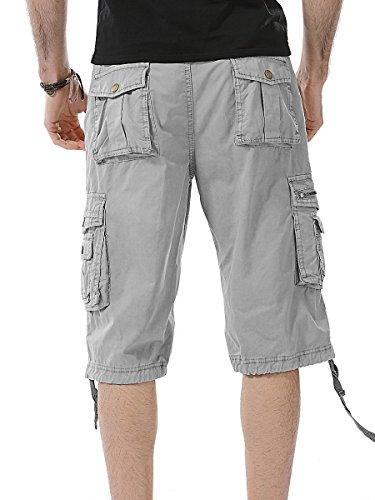 2017 Sommer Neu Herren Jungen Cargo Shorts Strand Kurze Hose Khaki,Grau,Armeegrün A082 grau