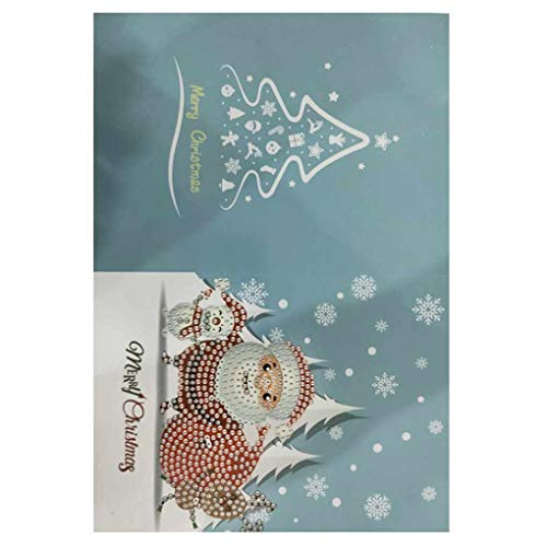 Aiming 1pcs / 8pcs Diamant Gemälde Comic Mini Weihnachtsmann Frohe Weihnachten Papier-Gruß-Postkarten Fertigkeit DIY Kids Festival Greet Karten (Drucken Halloween-gruß-karten Zu)