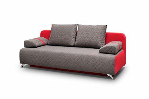 mb-moebel Couch mit Schlaffunktion Sofa Schlafsofa Wohnzimmercouch Bettsofa Ausziehbar Palermo (Grau)