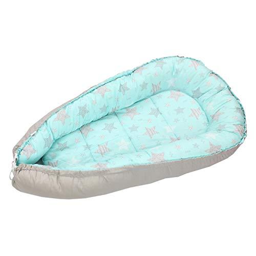 TupTam Baby Babynestchen Kuschelnest 2-seitig, Farbe: Sterne Mint/Grau, Größe: ca. 85 x 55 cm