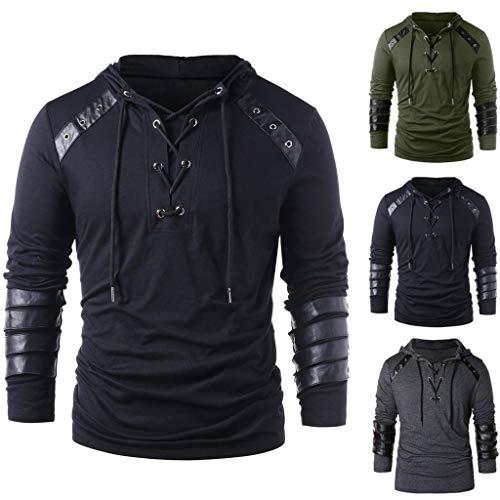 TIZUPI Hoodie Sweater Hoodie für Männer Kapuzenpullover Jungen Pullover Sweatshirt Shirt Casual Kordelzug Old Leather Patchwork Langarmshirts
