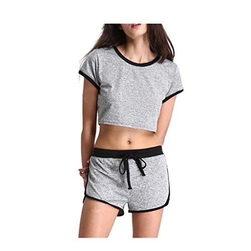 Sportkleidung VENMO Frauen Yoga Casual Athletic Gym Fitness Lose Shorts Set (S, Gray) (Graue Flanell-hose)