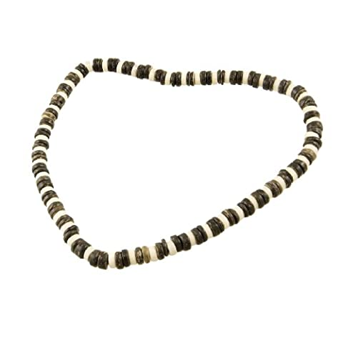 sourcingmap® Dark Brown White Wooden Beaded Stretchy Necklace