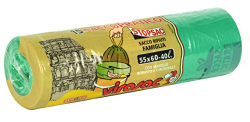 VIROSAC Sacchi 55x60 verde maniglie 15 pz. - Sacchi immondizia