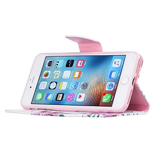 Trumpshop Smartphone Case Coque Housse Etui de Protection pour Apple iPhone 7 (4.7-Pouce) + Don't Touch My Phone (Ourson) + Mode Portefeuille PU Cuir Avec Fonction Support Anti-Chocs Papillons rouges