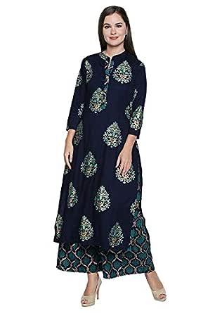 Ishin Viscose Rayon Navy Blue Printed A-line Women's Kurta & Palazzos Set