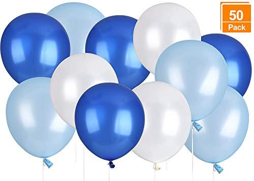 Lelengder 50 x Luftballons Blau | Luftballons | Luftballon für schöne Feiertage und Feste, Baby Shower, die Hochzeit, die zum Geburtstag, 12 Zoll, Perlglanz, Verdicken 3.2G, 3 Farbe -