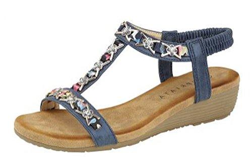 Cipriata Ladies Pewter Blue Jewelled Sling Back Low Wedge Heeled Sandals L072 KD-Blue-UK 8 (EU 41) (Kd-8 Schuhe)