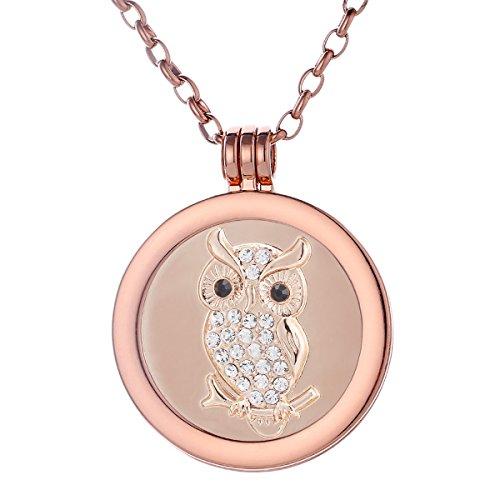 Morella Damen Halskette rosegold 70 cm Edelstahl mit Amulett und Coin 33 mm Eule rosegold in Schmuckbeutel