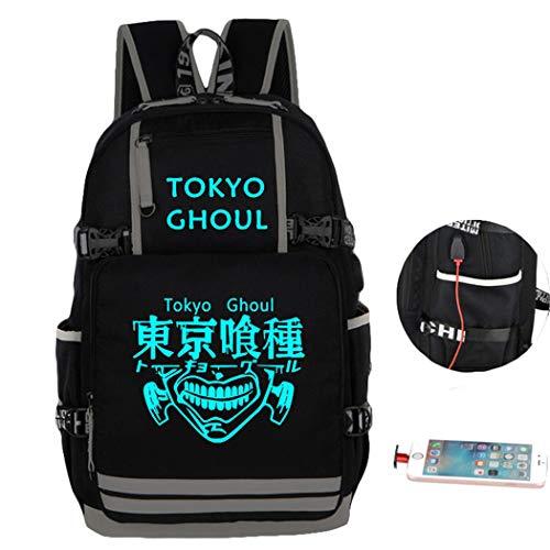 Cosstars Tokyo Ghoul Anime Mochila Escolar Estudiante Backpack para Portátil con Puerto de Carga USB Luminoso C