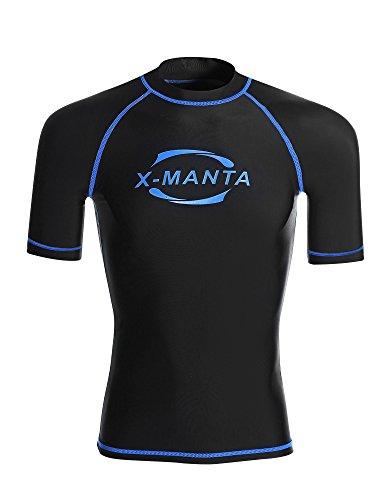 Dive & Sail Herren Rash Guard Kurzarm UPF UV-Schutz 50+ rushgard T-Shirt Top, Herren, schwarz -
