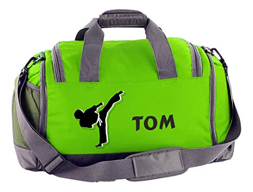 (Mein Zwergenland Multi-Sporttasche mit Schuhfach, Name und Wunschmotiv, 41 L, Lime Grün Sport 51)