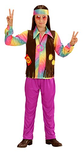 Widmann 73348 - Kinderkostüm Hippie Junge, Shirt, angenähte Weste, Hose und Stirnband, lila, Größe (Kostüme Hose Lila)