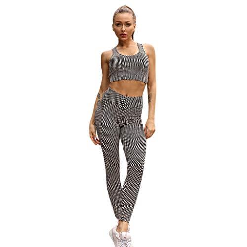 cinnamou Damen Dot Yoga Set Sport Fitness Weste und Hose Hüfte Hüftset,Frauen hohe Taillen Yoga Weste Legging laufende Sporthose Hosen Klage - Dot Capri Hose Set