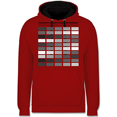 Statement Shirts - Ich habe Shades of grey gedownloaded - Kontrast Hoodie Rot/Schwarz