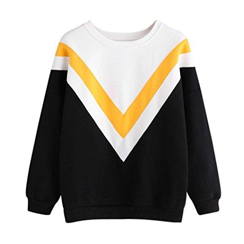 LILICAT Damen Sweatshirt Casual Pulli Rundhals Pullover Elegant Langarmshirt Mode Strickjacke Freizeit Kimono Frauen Baumwolle Shirt Cardigan Cover Up Patchwork Outwear (XXL, Yellow)