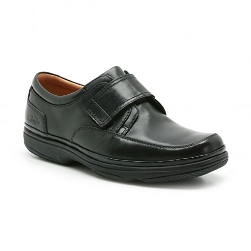 Clarks Swift Turn Mens Velcro shoe in Black or Mahogany Leather Black Leather