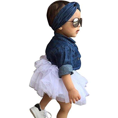 Amlaiworld Mädchen Langarm Denim Bluse + Tutu + Haarband Mode Kleinkind Niedlich Kleider Set Kleidung,1-5 Jahren (5 Jahren, Blau)