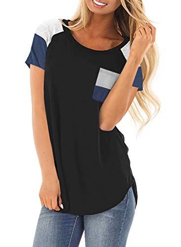 Sommer-kurzarm-top (DanceWhale Damen T Shirt Rundhals Farbblock Kurzarm Oberteile Bluse Hemd Lose Sommer Tunika Top Schwarz M)