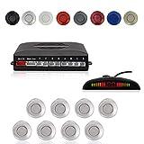 CoCar Auto Rückfahrwarner Einparkhilfe 8 Sensoren Einparkassistent Einparksystem PDC + LED Anzeigen + Akustische Warnung - Silber