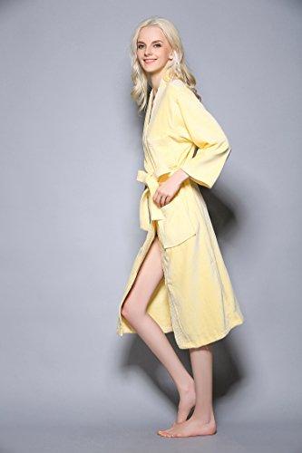 Fortuning's JDS Inverno Cotone accappatoi Kimono vestaglia Sleepwear Robes per gli uomini delle donne Giallo