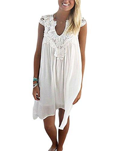 Elegant Damen Sommerkleid Strandkleid Rundkragen Spitze-stückeln Ärmellos Chiffonkleid Rock Partykleid Tunika Blusen Shirt (m, Weiß)
