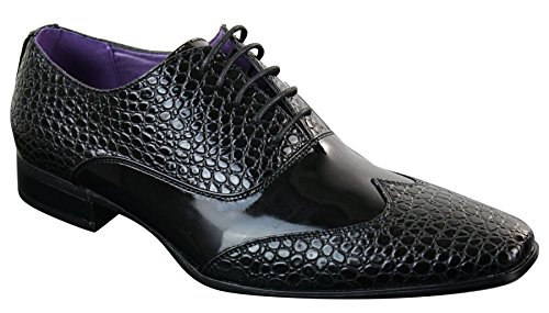 Chaussures homme simili cuir verni serpent crocodile noir brillant avec lacets Noir