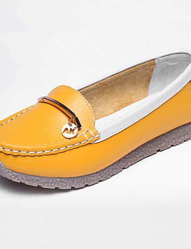 ZQ gyht Scarpe Donna-Mocassini-Tempo libero / Casual-Punta arrotondata-Piatto-Di pelle-Blu / Giallo / Rosa / Rosso , pink-us8.5 / eu39 / uk6.5 / cn40 , pink-us8.5 / eu39 / uk6.5 / cn40 yellow-us7.5 / eu38 / uk5.5 / cn38