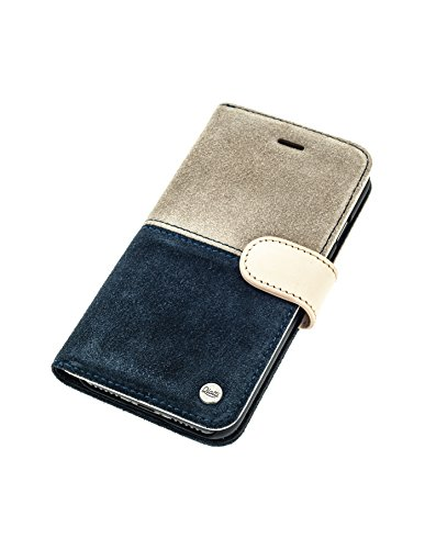 QIOTTI >            Apple iPhone 5 / 5S / SE            < incl. PANZERGLAS H9 HD+ Geschenbox Booklet Wallet Case Hülle Premium Tasche aus echtem Leder mit Kartenfächer. Edel verpackt incl. Stoffbeutel. HALF RAW KOLLEKTION  BLAU