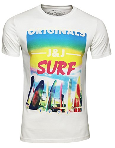 JACK & JONES - jjorBEACH TEE SS CREW NECK, T-shirt da uomo cloud dancer surf
