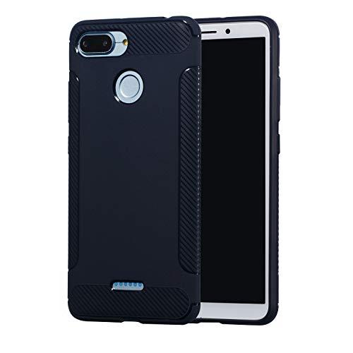 Carols Redmi 6A Hülle, Xiaomi Redmi 6A Case Flexiblem TPU Silikon Hybrid Schutzhülle Kohlenstoff-Fasern Tasche Ultra Slim Handyhülle für Xiaomi Redmi 6A - Blau A