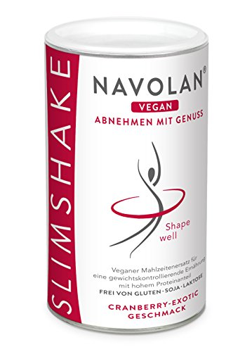 NAVOLAN vegan Cranberry Exotic SLIMSHAKE: veganer Proteinshake zum Abnehmen, pflanzliche Proteine, Sojafrei, Laktosefrei, Glutenfrei, einfache Zubereitung und schmeckt lecker