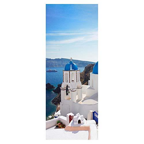 Wqq Türaufkleber 3D Schloss am Meer Türtapete Selbstklebend Abnehmbar Wasserdicht PVC – Material Wohnzimmer Schlafzimmer Türfolie Poster (30.3X78.7in)