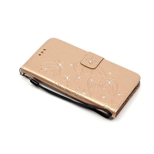 iPhone 4S Custodia, iPhone 4 Custodia, iPhone 4/4S/4G Custodia in Pelle Portafoglio, JAWSEU [Shock-Absorption][Anti Scratch] Lusso 3D Goffratura Fiore Farfalla Wallet Pouch PU Leather Flip Cover Custo Diamante Fiore, Oro