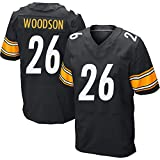 Männer Rugby Jersey T-Shirt Pittsburgh Steelers 26# Woodson Erwachsene Training Kurzarm Casual Top Football League Uniform,Black,XL