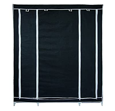 Black fabric wardrobe - 3-door wardrobe and zip closure - inexpensive UK wordrobe store.