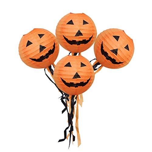 Mobestech 10pcs Halloween Kürbislaternen Papier hängend elektronisches buntes Nachtlicht mit 25cm Quaste für Halloween Scary Theme Party Haunted House Decor - Akzent-dekor-tisch-lampe