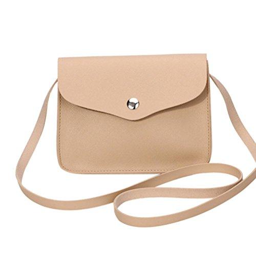 Kanpola Art und Weisefrauen PU-lederne Schulter Crossbody Handtasche Kuriertaschen (Khaki) (Handtasche Troddel Drawstring)